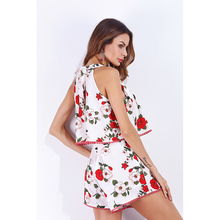 7557074f73c5 O-neck Chic Lace up Playsuits Vacation Beach Style Flower Prints Lolita  Sweet Girls Rompers Loose Shorts for Women