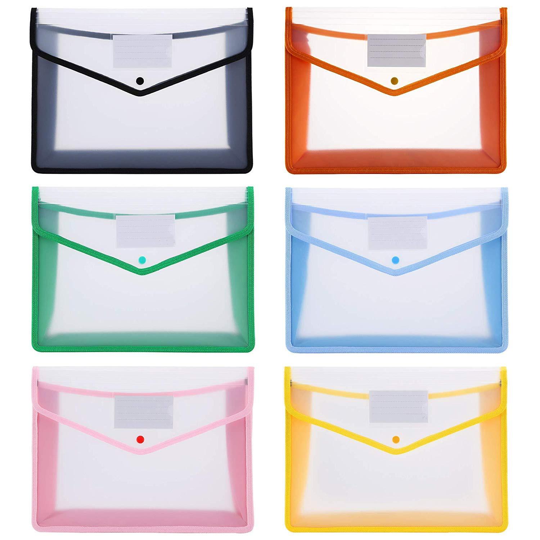 6pc/set Plastic A4 File Folders Large Capacity Wallet Document Bag Popper Wallet Envelope Folders For Office Home School Travel