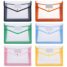 6pc/set Plastic A4 File Folders Large Capacity Wallet Document Bag Popper Wallet Envelope Folders for Office Home School Travel