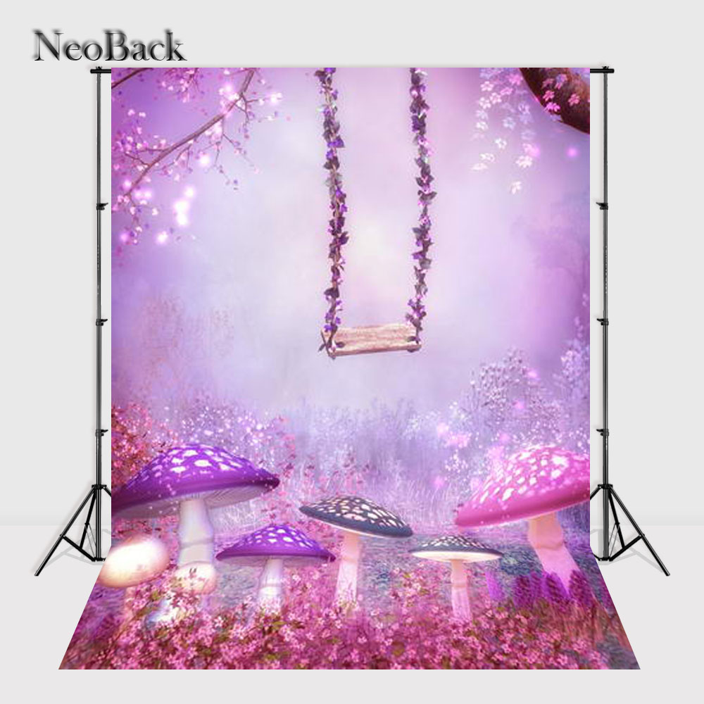 NeoBack Fast shipping 5x7ft Mushroom and Swing Fairy tale vinyl new born photo backgrounds printed children kids Backdrops P1322