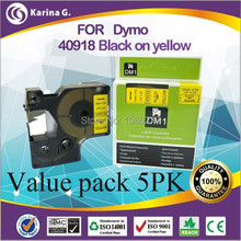 5pk Compatible pour DYMO D1 étiquette bande 40918 noir sur jaune 9mm * 7 M livraison gratuite