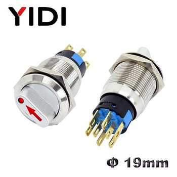 19mm position Metal Selector Rotary Switch Latching Push Button Switch SPDT with 12V LED illumination