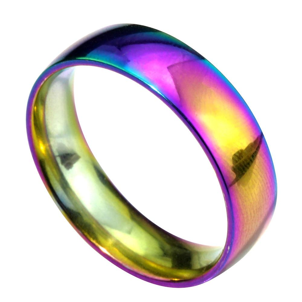 memolissa 6mm titanium steel wedding band ring rainbow colorful finger ring unique design for gift - Rainbow Wedding Rings