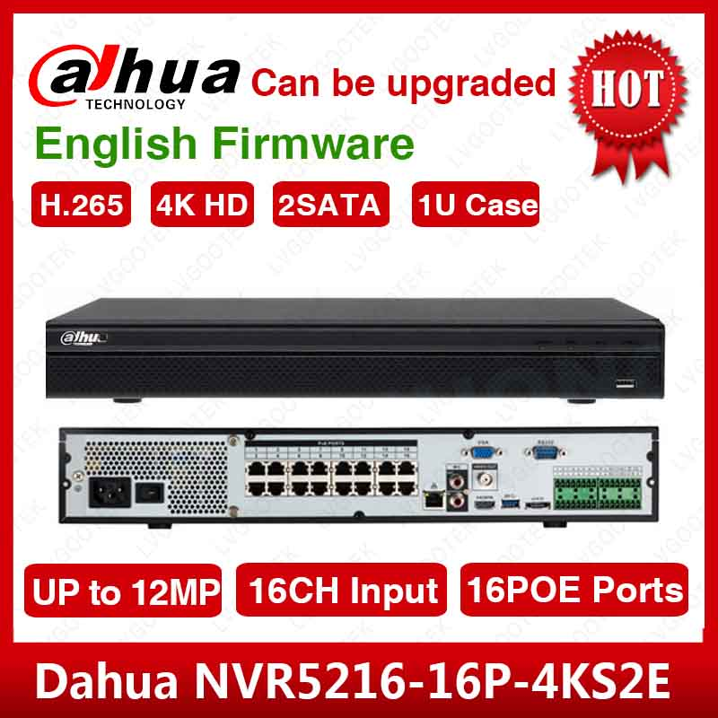 EXPRESS Shipping  Dahua NVR5216-16P-4kS2 16CH NVR 12MP 1U 16PoE 4K&H.265 Lite Network Video Recorder NVR5216-16P-4KS2E Logo