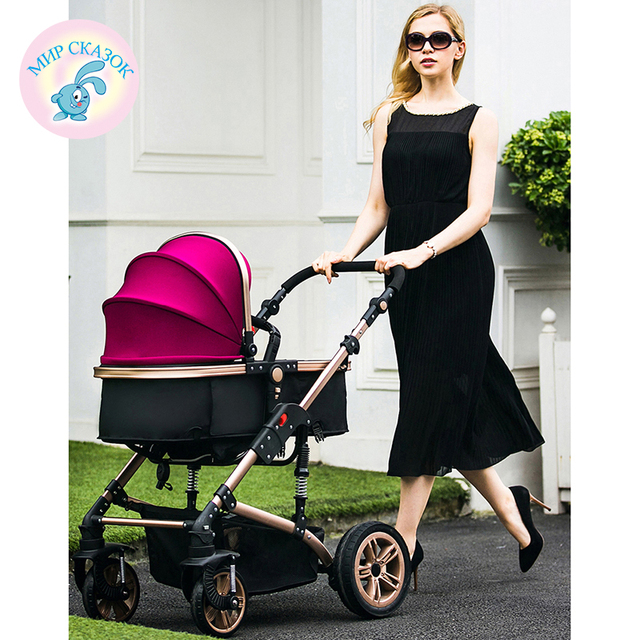 Russia Free Shipping Lightweight stroller high landscape can sit lie folded two-way shock absorbers winter baby push buggies