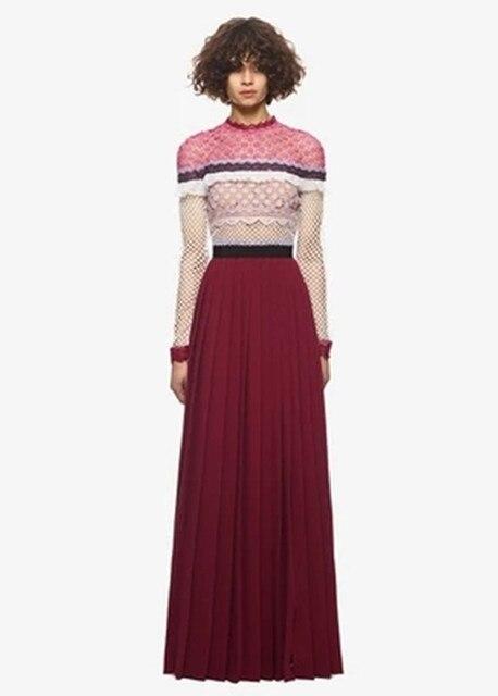 women maxi dress 2018 christmas dress self portrait color block high split lace chiffon pleated long - Long Christmas Dresses