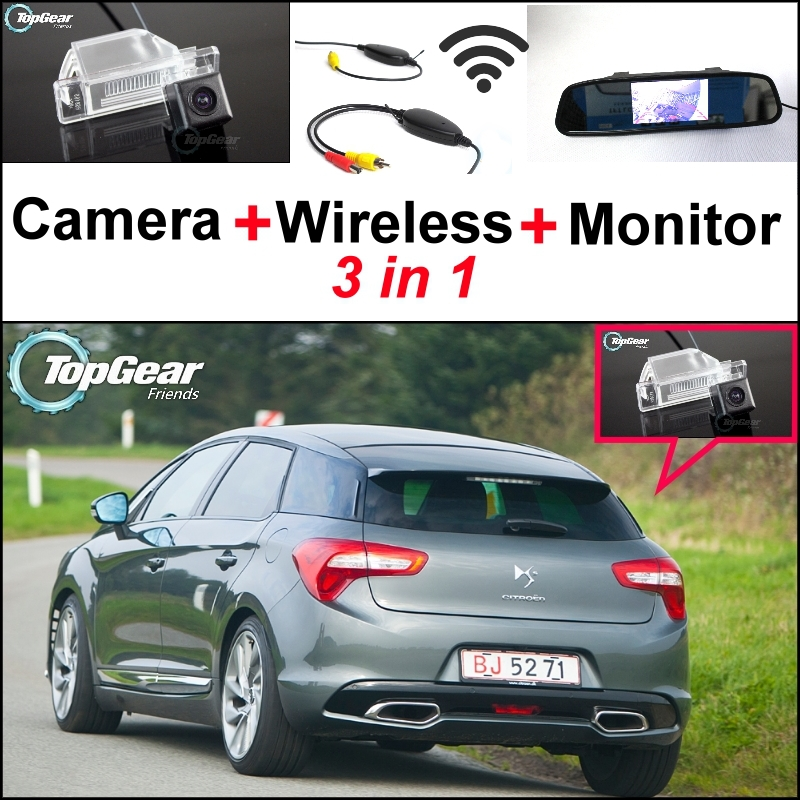 3 in1 Special Rear View Camera + Wireless Receiver + Mirror Monitor Easy DIY Parking System For Citroen DS5 DS 5 2011~2015