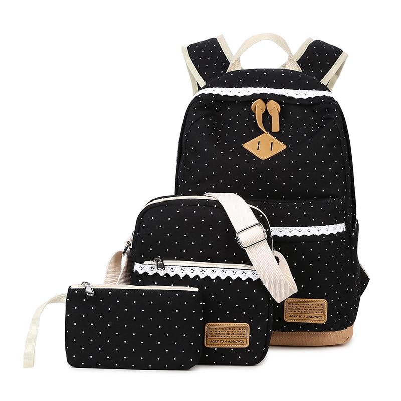 Fashion Printing Dot Canvas Backpack 3 Pcs/set Women School Backpacks Schoolbag For Teenagers Student Computer Book Bag