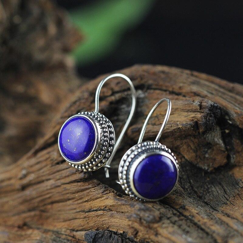 L & P Vintage pierres précieuses Thai 925 argent Lapis naturel boucles d'oreilles de mariage 925 en argent Sterling boucles d'oreilles déclaration femmes bijoux