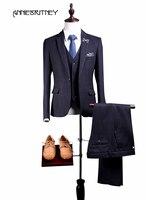 2018 новый бренд Темно синие вельвет мужской костюм смокинг жениха Блейзер Slim Fit 3 предмета Свадебные Стиль Костюмы ternos куртка + брюки + жилет