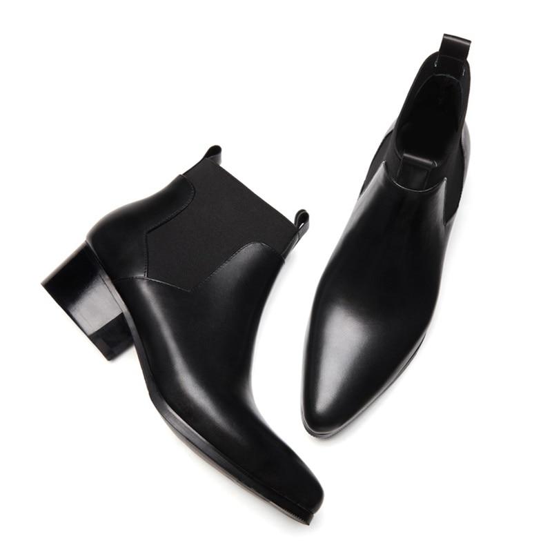 Dos Equitação Genuíno Alto Sapatos Chegada De Ankle Cowboy Ss280 Boots Homem Dedo Pé Chelsea Casamento Designer Pontas Couro Nova Homens Salto Preto Do nwqfZ