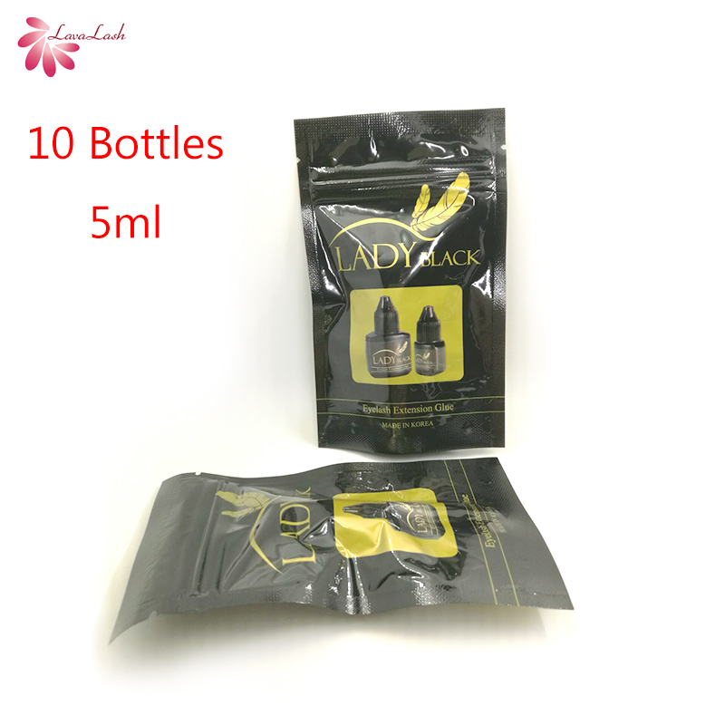 Free shipping lady black glue With Sealed Bag eyelash extensions 10 bottles lot 5ml fast dry