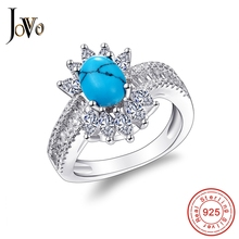 JOVO Sterling 925 Silver Rings For Women Turquoise Wedding bands Anniversary Promise Prong Setting luxury Jewelry