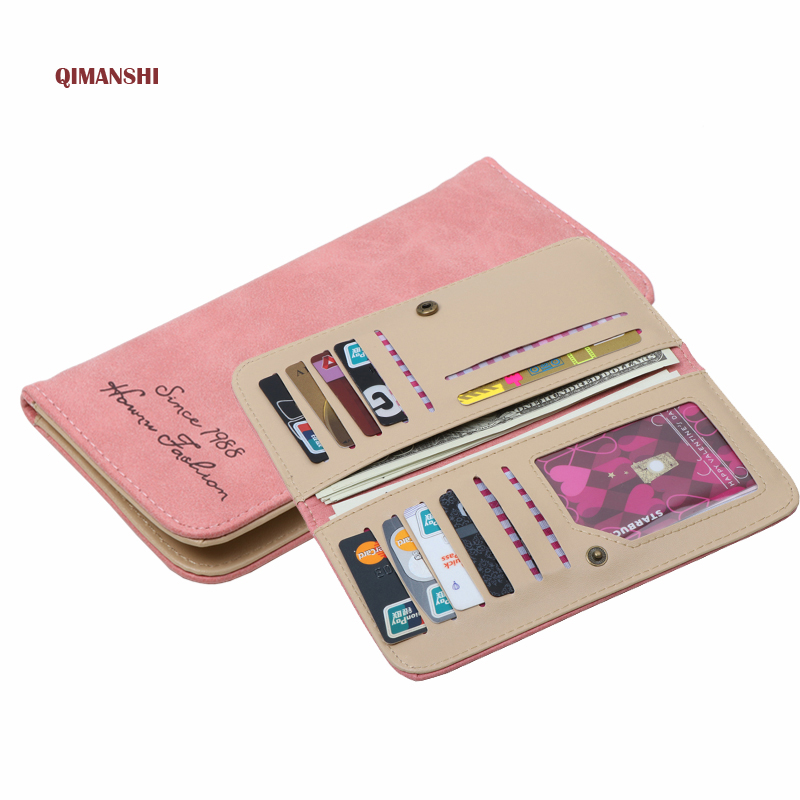 QIMANSHI  2017  Women Wallets female cards holders Candy colors PU wallet coin purses girl Long Wallets Bolsa Feminina 2017 new ladies purses in europe and america long wallet female cards holders cartoon cat pu wallet coin purses girl