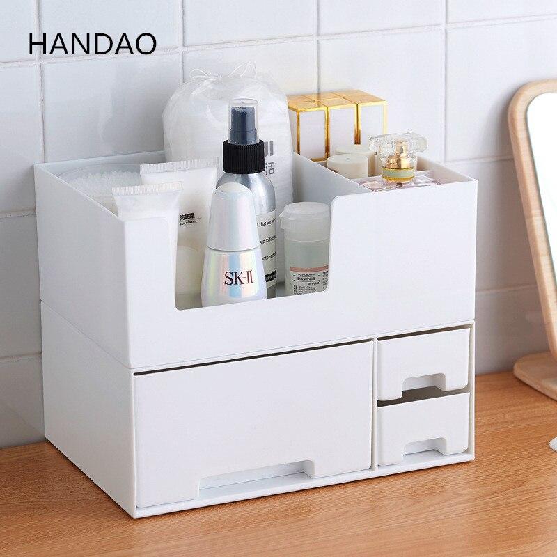 Bescheiden Lade Cosmetica Organizer Beauty Case Plastic Makeup Box Desktop Kaptafel Opslag Nagellak Lippenstift Standhouder