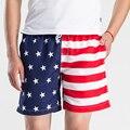 2016 Mens Shorts Casual Summer Fashion Striped Star Masculina Beach Shorts Men Board Shorts short de bain homme