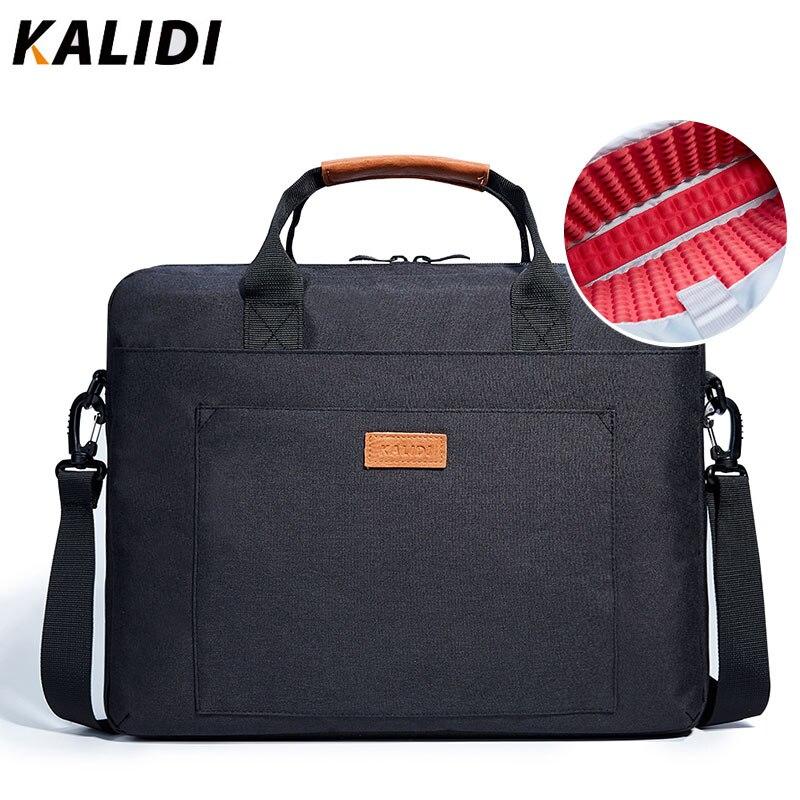 KALIDI Laptop Bag 13,3 15,6 17,3 pulgadas impermeable portátil para Macbook Air Pro 13 15 hombro del ordenador portátil maletín hombres