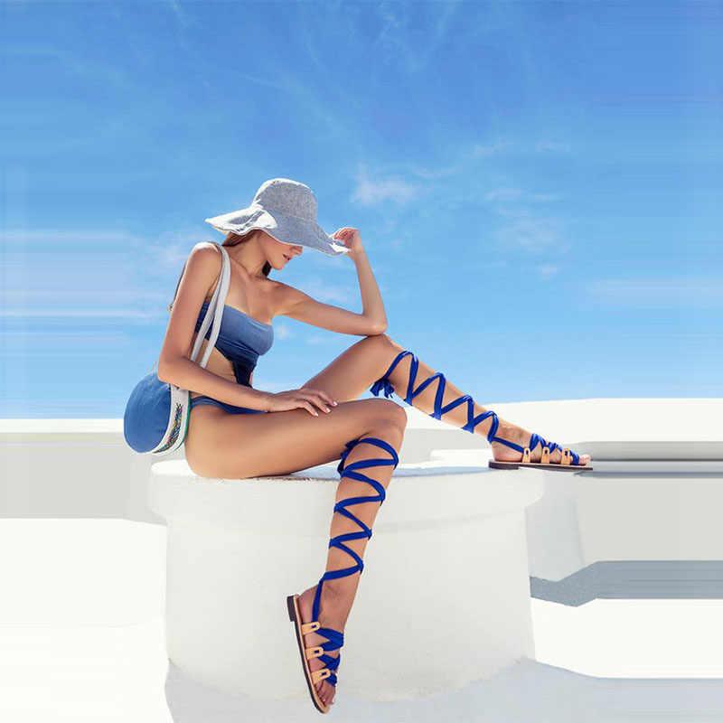 VTOTA בוהמיה סגנון קיץ דירות סנדלי גלדיאטור צלב רצועת סקסי הברך גבוהה מגפי אישה שטוח מקרית חוף סנדלי נשים