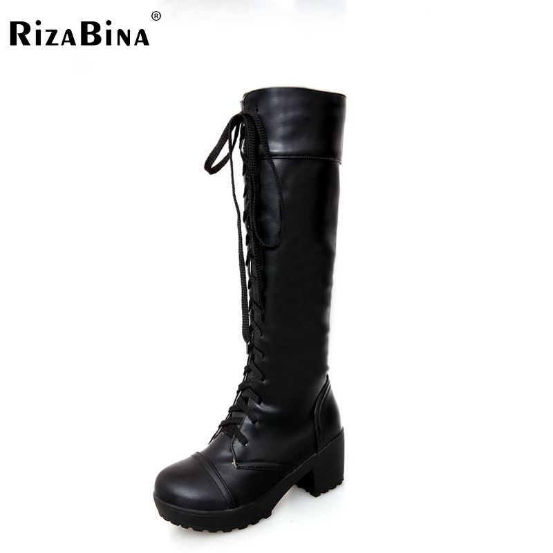 women high heel over knee boots motorcycle fashion autumn winter botas cross strap boot footwear heels shoes P20542 size 34-43 enmayla winter autumn round toe low heel knee high boots women flats lace up shoes woman rider brown black suede motorcycle boot