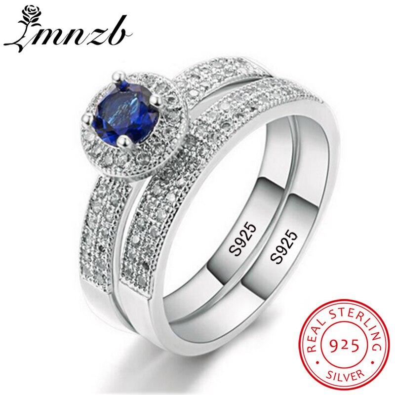 LMNZB À La Mode 100% 925 Sterling Silver Ring Set Bleu Diamant Bande Deux Bague de Fiançailles De Mariage Bijoux Pour Femmes LMR007
