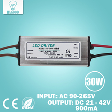 30W 10 Series 3 parallel Waterproof LED light driver transformer lamp power supply adapter Current 855-900mA Output DC 21-42V