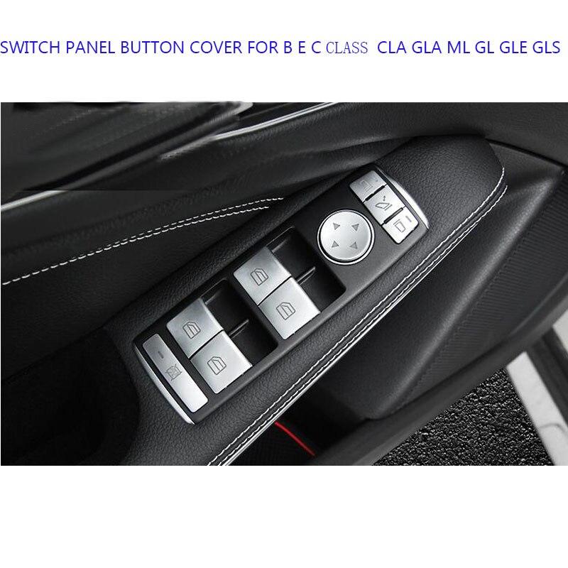 14 pièces perle CHROME mat CHROME voiture fenêtre lève panneau interrupteur revêtement d'habillage pour BENZ Mercedes B E C classe CLA GLA ML GL GLE GLS