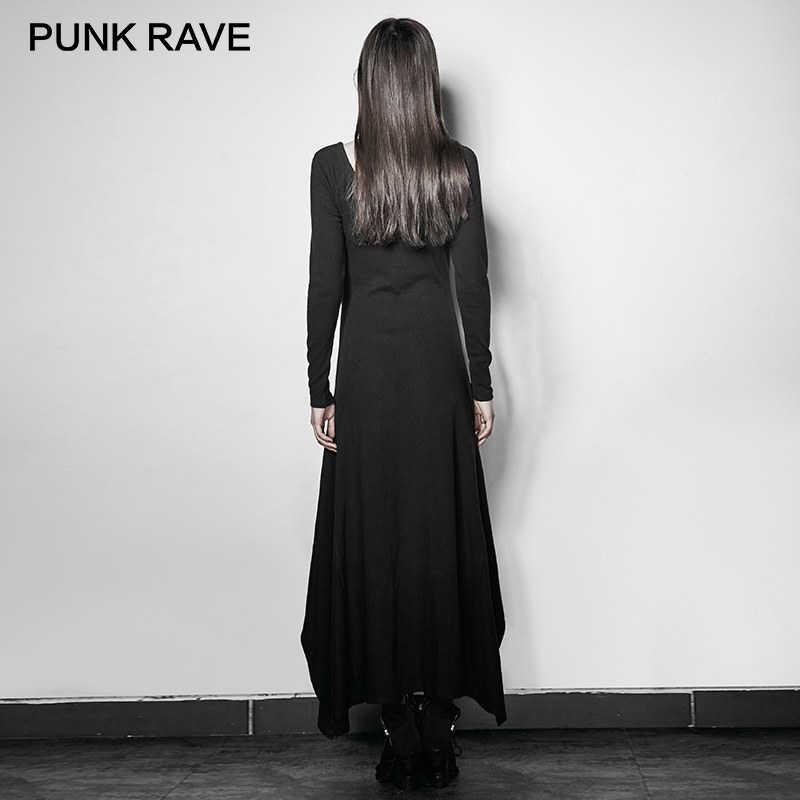 75fbb95fe83a ... PUNK RAVE Asymmetrical Hem Dresses Women Rock Black Sexy V-Neck Long  Sleeve Slim- ...
