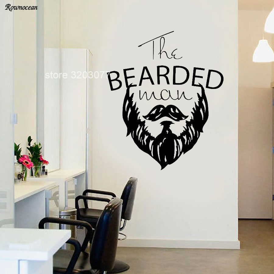 The bearded man facial hair barber salon man cave wall art stickers decal vinyl decoration ba05 in wall stickers from home garden on aliexpress com