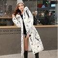 2016 Большой размер высокое качество зима удлиненные вниз хлопка куртка женщин Сгущать пальто женский верхняя одежда Повседневная мода печати