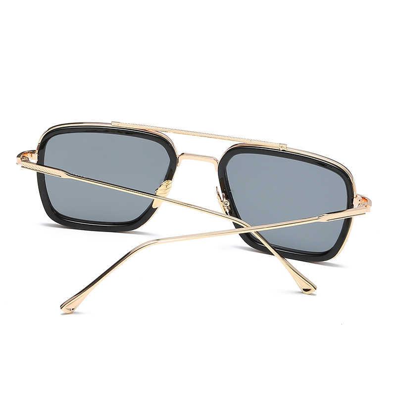הנוקמים טוני סטארק טיסה סגנון איש רטרו משקפי שמש גברים מותג מעצב קלאסי מראה כיכר קיטור פאנק שמש משקפיים גברים UV400