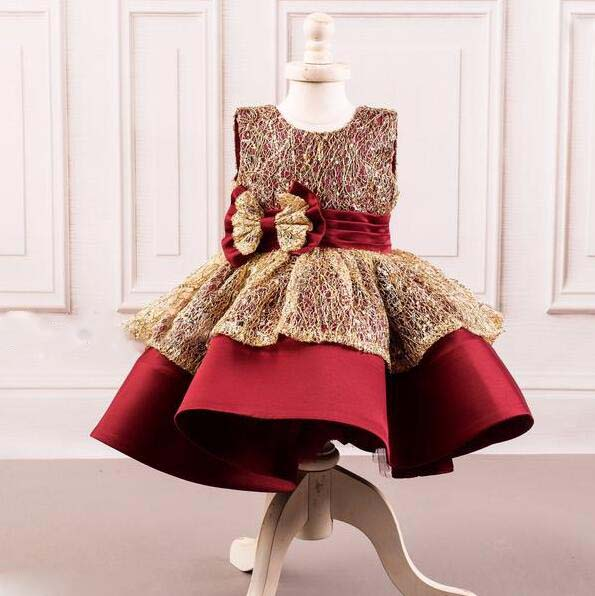 Kids couture burgundy red and gold ball gown toddler girl short celebration pageant gown with bow baby birthday party dresses