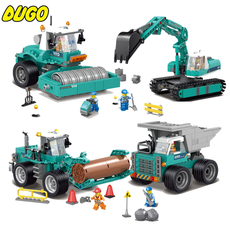 Engineering Excavator Vehicles Bulldozer Building Blocks Compatible Legoe City Construction Educational Bricks Toys For Children lego city great vehicles буксировщик автомобилей 60081