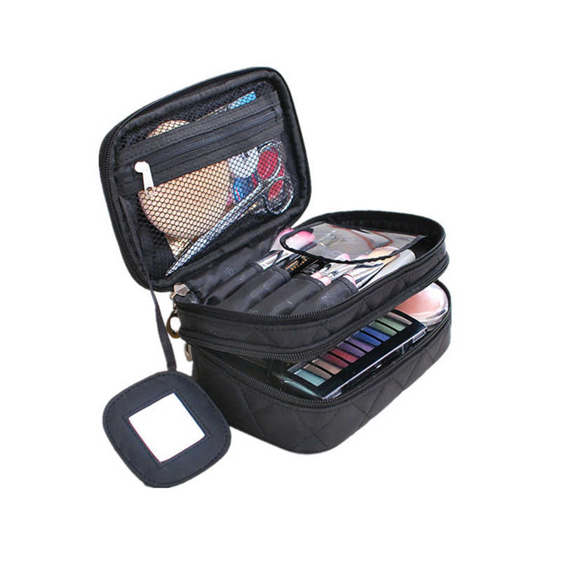 05029ae65ec Diamond Lattice Double Layer Cosmetic Bags With Mirror Travel Functional Makeup  Pouch Toiletry Case Box Organizer