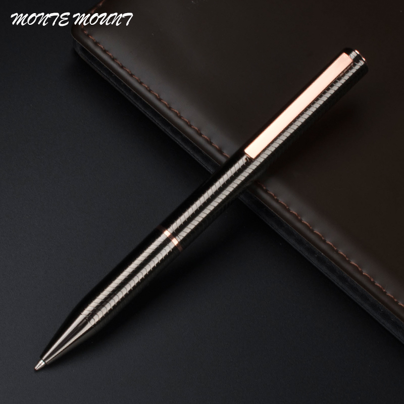 monte mount ballpoint pen metallic gray wavy grain design luxury pens office supply writing pen. Black Bedroom Furniture Sets. Home Design Ideas