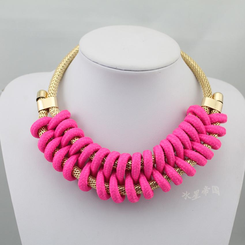 Handmade Knitted Rope Choker Collar Necklace Women Short Candy Neon Color Jewelry Choker