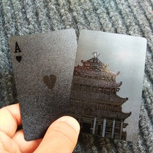 54pcs Waterproof Black Plastic Playing Cards Collection Black Diamond Poker Cards Creative