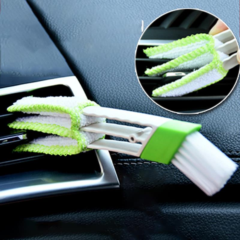 AOZBZ Car Double Side Cleaning Brush Dashboard Soft Brush Auto Air Conditioning Outlet Cleaning Brush Dust Double Side Brush