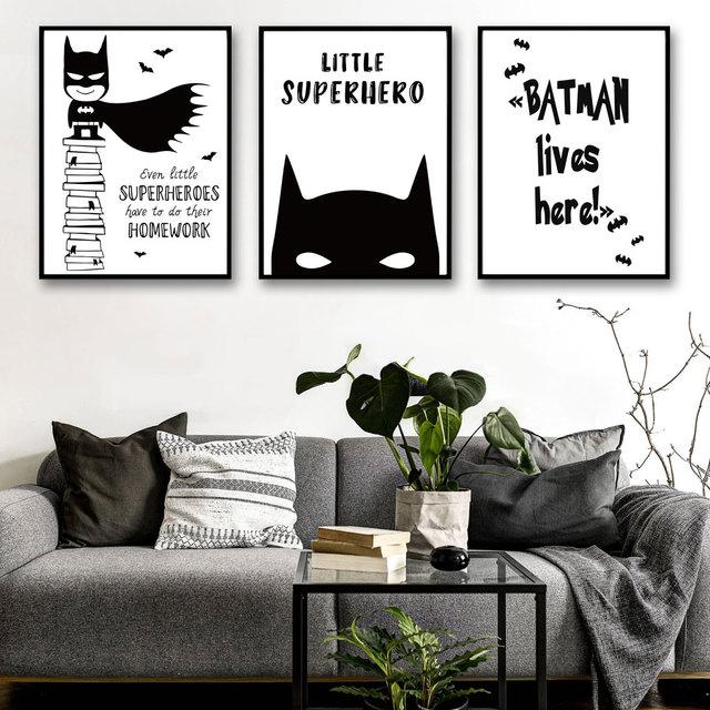 Batman cómico minimalista lienzo A4 cartel pintura superhéroe de ...