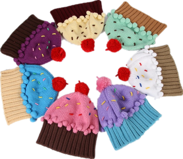 7547e1e317145 The same style as NEFF manual knit lovely beanie knitting women ball cap  ice cream cupcake wool hat One size also for kids baby