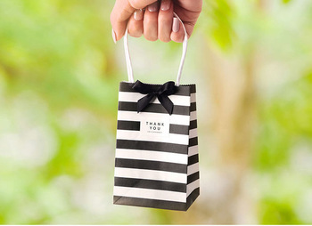100 Set Gift Bag Packaging Kraft Paper Bags With Handles Ribbon Birthday Wedding Party Favors Candy Cookie Paper Bags For Gifts