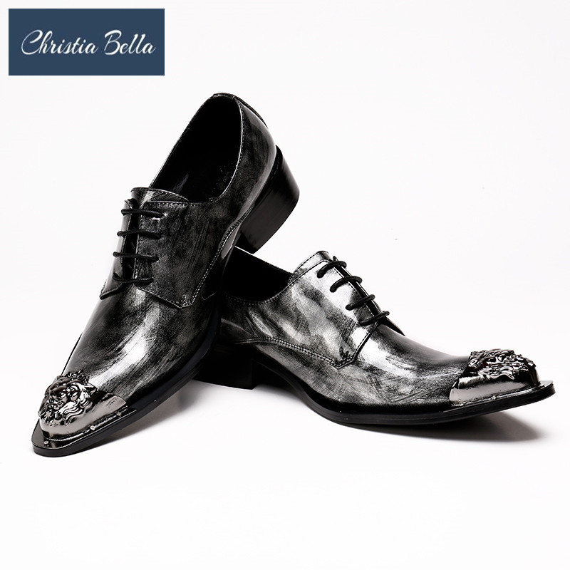 Christia Bella Grey Mens Dress Shoes Flats Genuine Leather Wedding Shoes Mens Formal Business Shoes Man Oxfords Shoes for WorkChristia Bella Grey Mens Dress Shoes Flats Genuine Leather Wedding Shoes Mens Formal Business Shoes Man Oxfords Shoes for Work