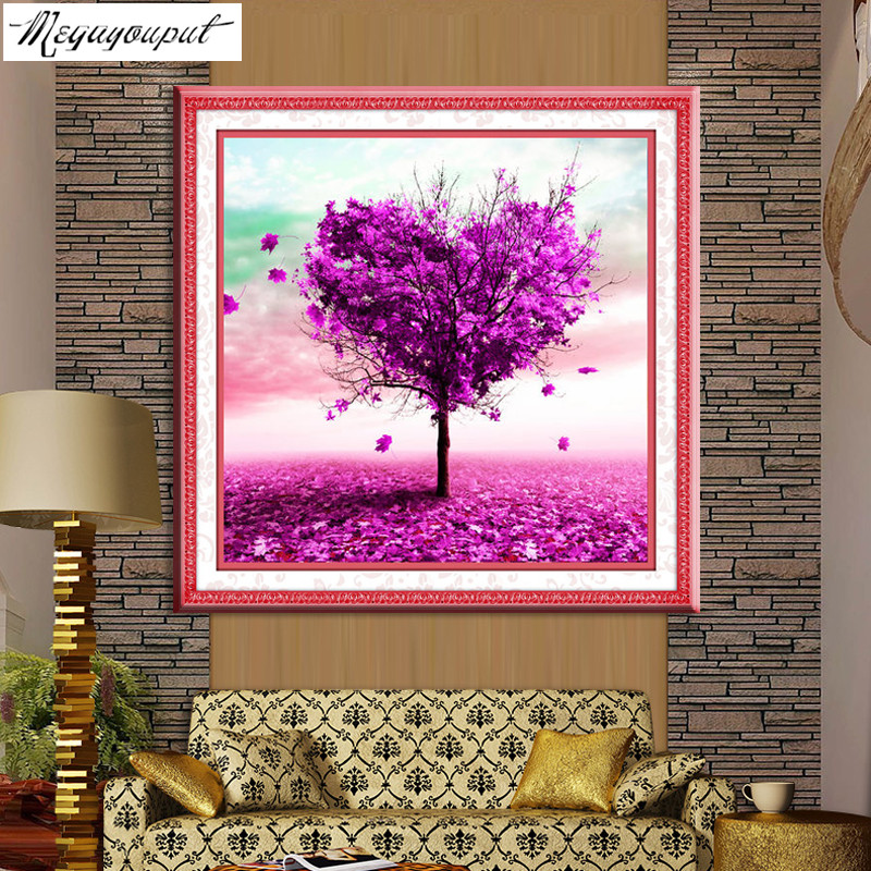 d5c0802ce6 Megayouput 5D Diy Diamond Painting Cross Stitch round Drill diamond mosaic  Heart Tree Pasted Painting diamond embroidery