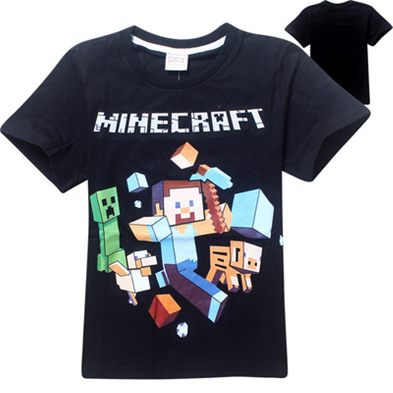 100%Cotton Minecraft Cartoon Childrens clothing Casual Our World Boys Girls Five Nights At costume cosplay Kids T Shirt baby