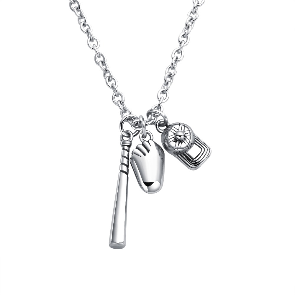 Punk Baseball cap/bat/glove Pendant Necklaces for Men Stainless Steel Link Chain Jewelry boy gift