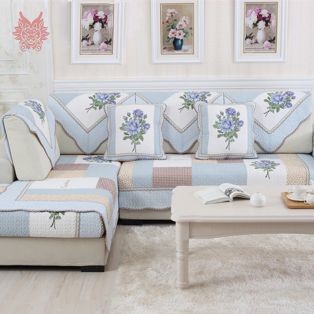 Great Korean Style Blue Quilted Sofa Cover 100%cotton Floral Print Breathable  Slipcovers For Sectional Sofa