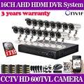 Inicio 16ch 600tvl IR al aire libre cámara de seguridad con sistema de grabación cctv dvr kits kit de vigilancia de vídeo 16 canal hdmi 1080 p