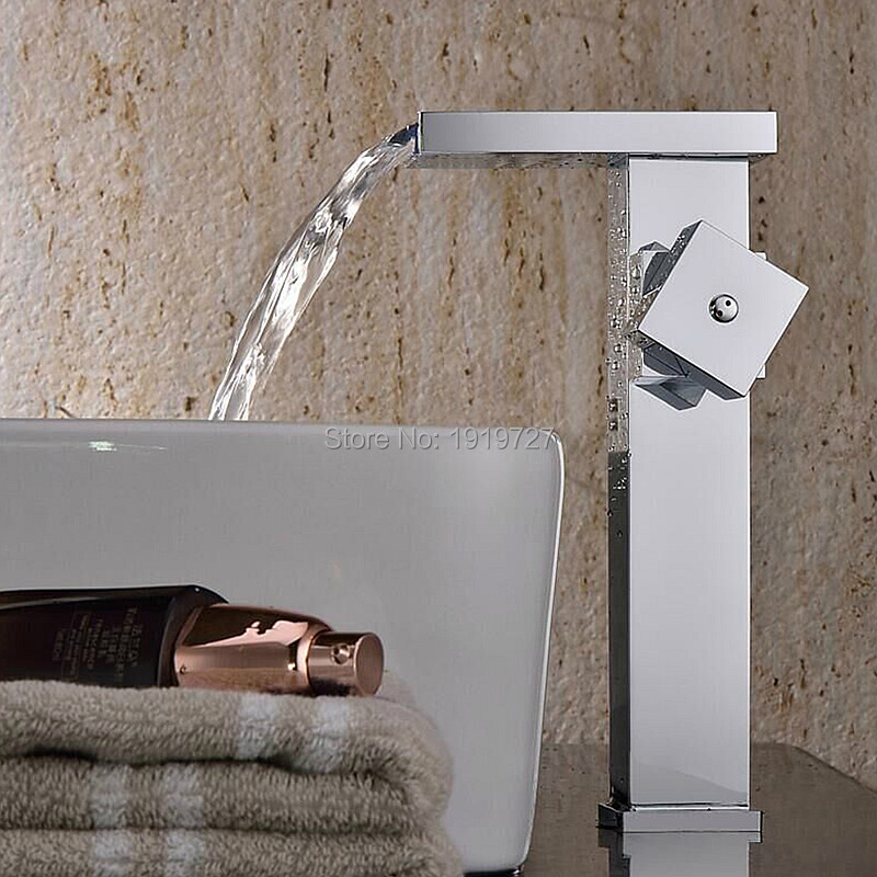 2016 Factory Direct 100% Lead Free Stainless Steel Square Style Single Hole Basin Mixer Tap Chrome Bathroom Waterfall Faucet 2016 100