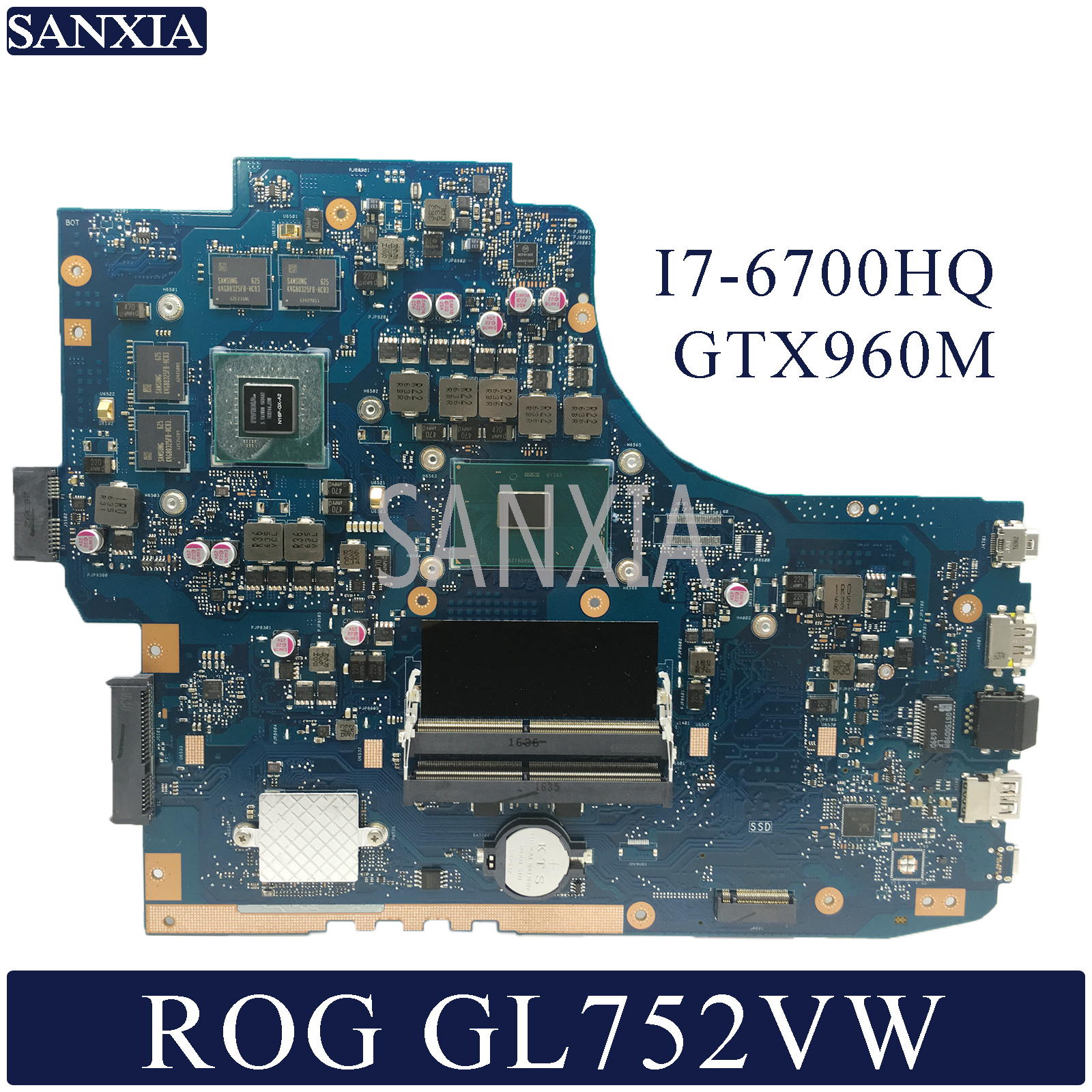 KEFU Laptop motherboard for ASUS ROG GL752VW original mainboard HM170 I7 6700HQ GTX960M 2GB 4GB