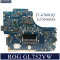 KEFU scheda madre Del Computer Portatile per ASUS ROG GL752VW mainboard originale HM170 I7-6700HQ GTX960M-2GB/4 GB