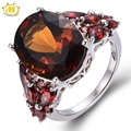 Hutang 11.31ct Natural Smoky Quartz & Garnet Solid 925 Sterling Silver Cocktail Ring Gemstone Women's Vintage Fine Jewelry 11.11